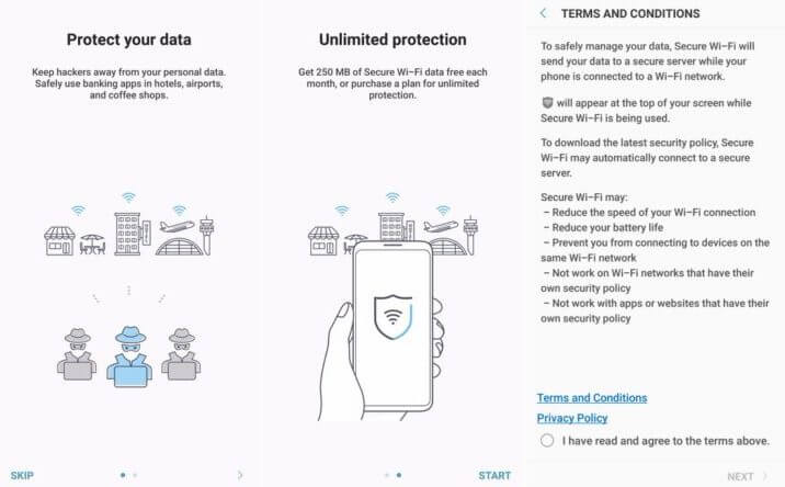 Galaxy Note 8 sulaukė Secure Wi-Fi VPN paslaugos